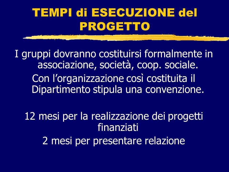 TEMPI di ESECUZIONE del PROGETTO I gruppi dovranno costituirsi formalmente in associazione, società, coop.