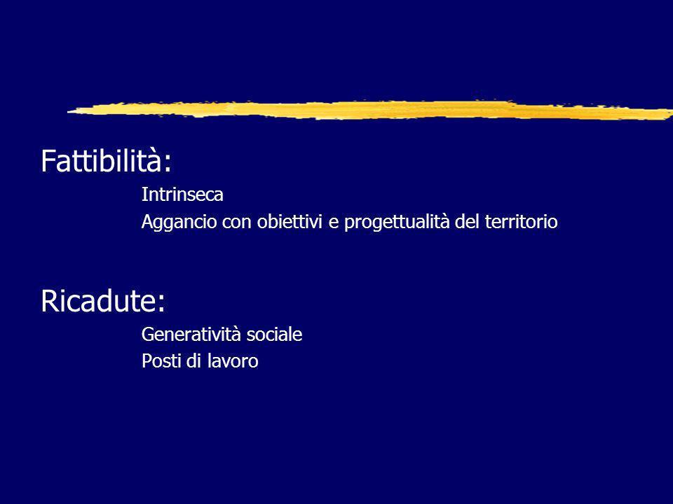 Fattibilità: Intrinseca Aggancio con obiettivi e progettualità del territorio Ricadute: Generatività sociale Posti di lavoro