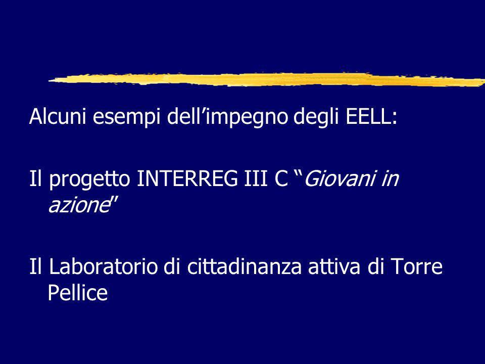 Alcuni esempi dellimpegno degli EELL: Il progetto INTERREG III C Giovani in azione Il Laboratorio di cittadinanza attiva di Torre Pellice