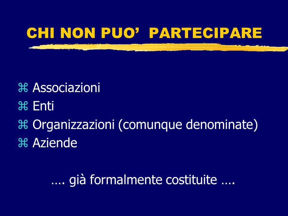 CHI NON PUO PARTECIPARE z Associazioni z Enti z Organizzazioni (comunque denominate) z Aziende ….