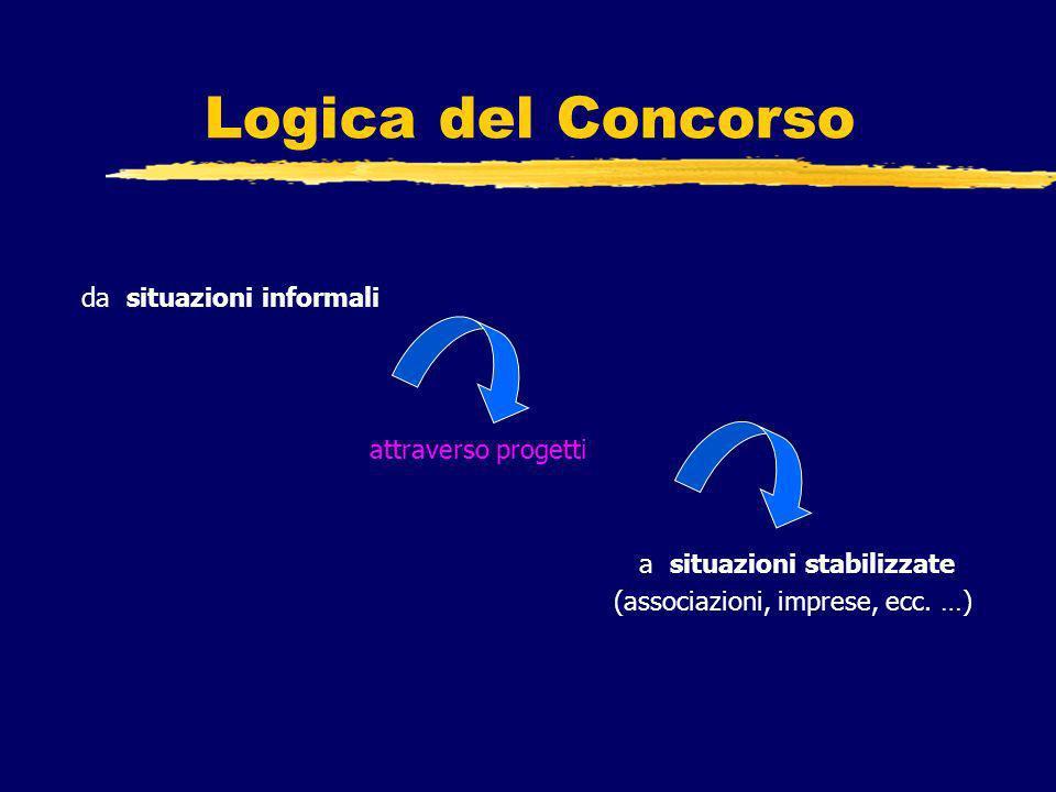 Logica del Concorso da situazioni informali attraverso progetti a situazioni stabilizzate (associazioni, imprese, ecc.