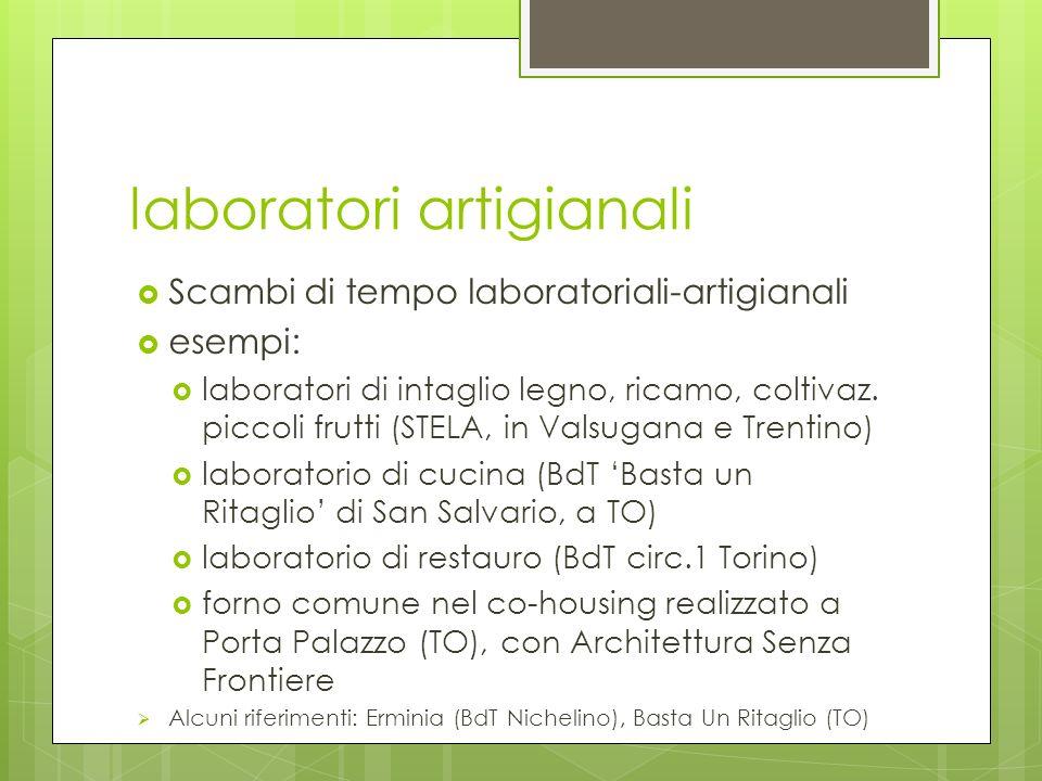 laboratori artigianali Scambi di tempo laboratoriali-artigianali esempi: laboratori di intaglio legno, ricamo, coltivaz.