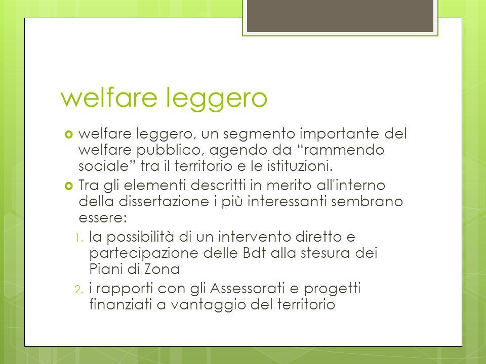 welfare leggero welfare leggero, un segmento importante del welfare pubblico, agendo da rammendo sociale tra il territorio e le istituzioni.