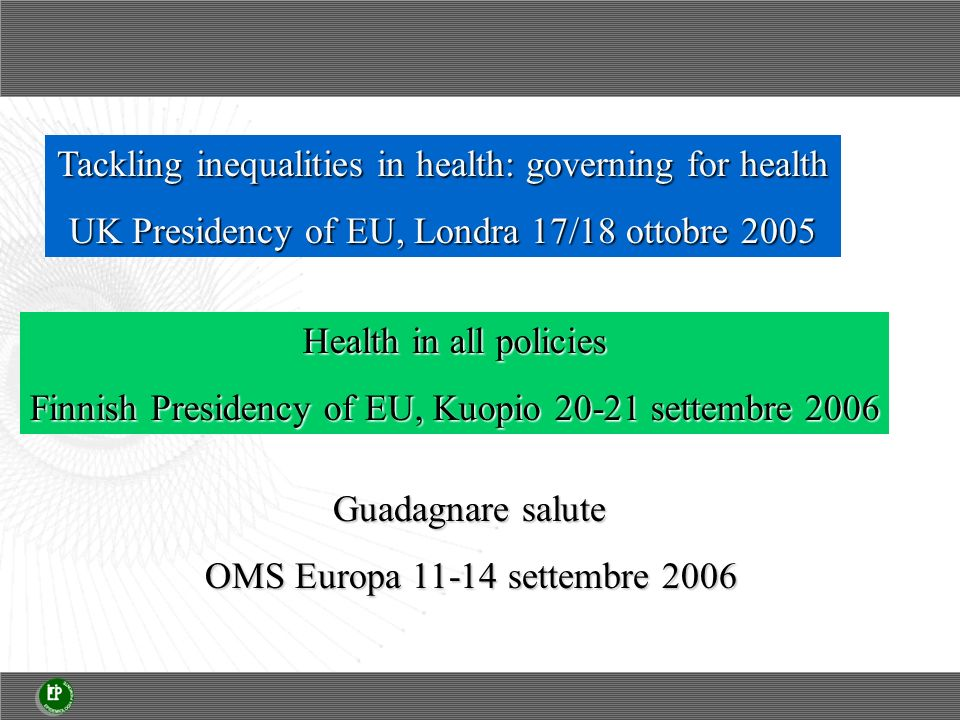Tackling inequalities in health: governing for health UK Presidency of EU, Londra 17/18 ottobre 2005 Health in all policies Finnish Presidency of EU, Kuopio 20-21 settembre 2006 Guadagnare salute OMS Europa 11-14 settembre 2006