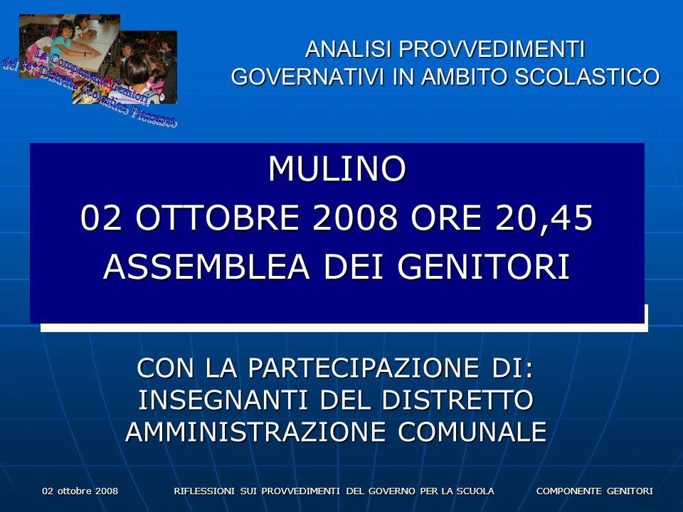 02 ottobre 2008 RIFLESSIONI SUI PROVVEDIMENTI DEL GOVERNO PER LA SCUOLA COMPONENTE GENITORI ANALISI PROVVEDIMENTI GOVERNATIVI IN AMBITO SCOLASTICO MULINO 02 OTTOBRE 2008 ORE 20,45 ASSEMBLEA DEI GENITORI CON LA PARTECIPAZIONE DI: INSEGNANTI DEL DISTRETTO AMMINISTRAZIONE COMUNALE