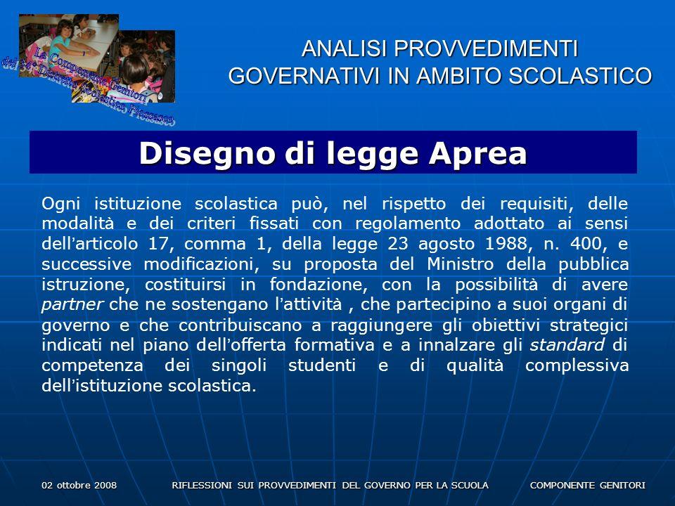 02 ottobre 2008 RIFLESSIONI SUI PROVVEDIMENTI DEL GOVERNO PER LA SCUOLA COMPONENTE GENITORI ANALISI PROVVEDIMENTI GOVERNATIVI IN AMBITO SCOLASTICO Disegno di legge Aprea Ogni istituzione scolastica può, nel rispetto dei requisiti, delle modalit à e dei criteri fissati con regolamento adottato ai sensi dell articolo 17, comma 1, della legge 23 agosto 1988, n.