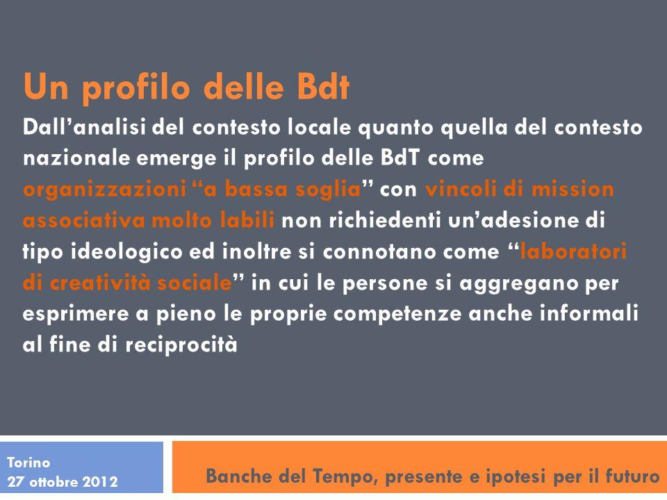 Torino 27 ottobre 2012 Un profilo delle Bdt Dallanalisi del contesto locale quanto quella del contesto nazionale emerge il profilo delle BdT come orga