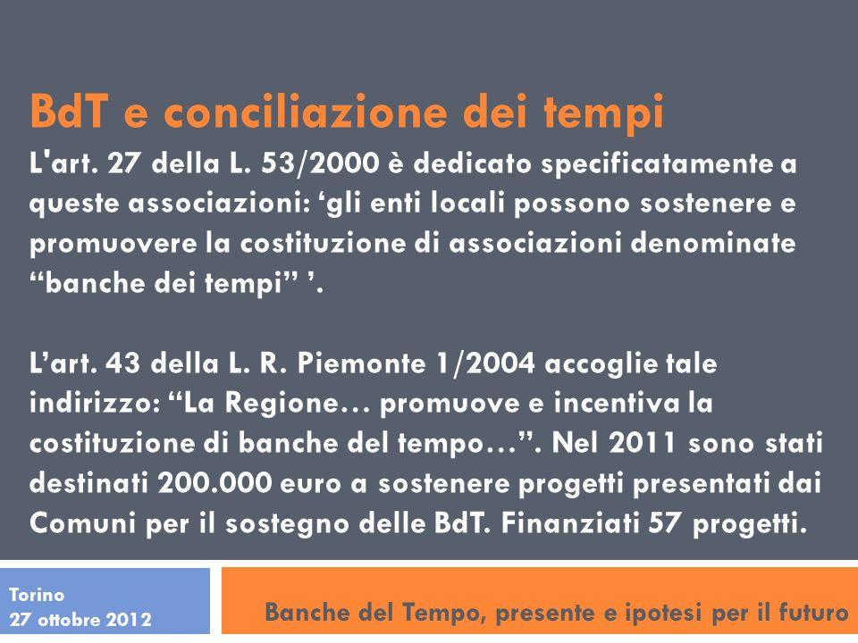 Torino 27 ottobre 2012 BdT e conciliazione dei tempi L'art. 27 della L. 53/2000 è dedicato specificatamente a queste associazioni: gli enti locali pos