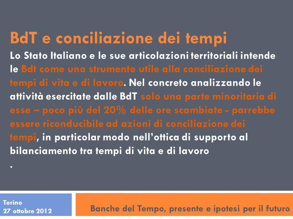 Torino 27 ottobre 2012 BdT e conciliazione dei tempi Lo Stato Italiano e le sue articolazioni territoriali intende le Bdt come uno strumento utile alla conciliazione dei tempi di vita e di lavoro.