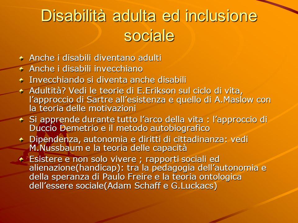 Disabilità adulta ed inclusione sociale Anche i disabili diventano adulti Anche i disabili invecchiano Invecchiando si diventa anche disabili Adultità