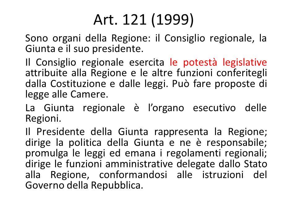 Art. 121 (1999) Sono organi della Regione: il Consiglio regionale, la Giunta e il suo presidente.