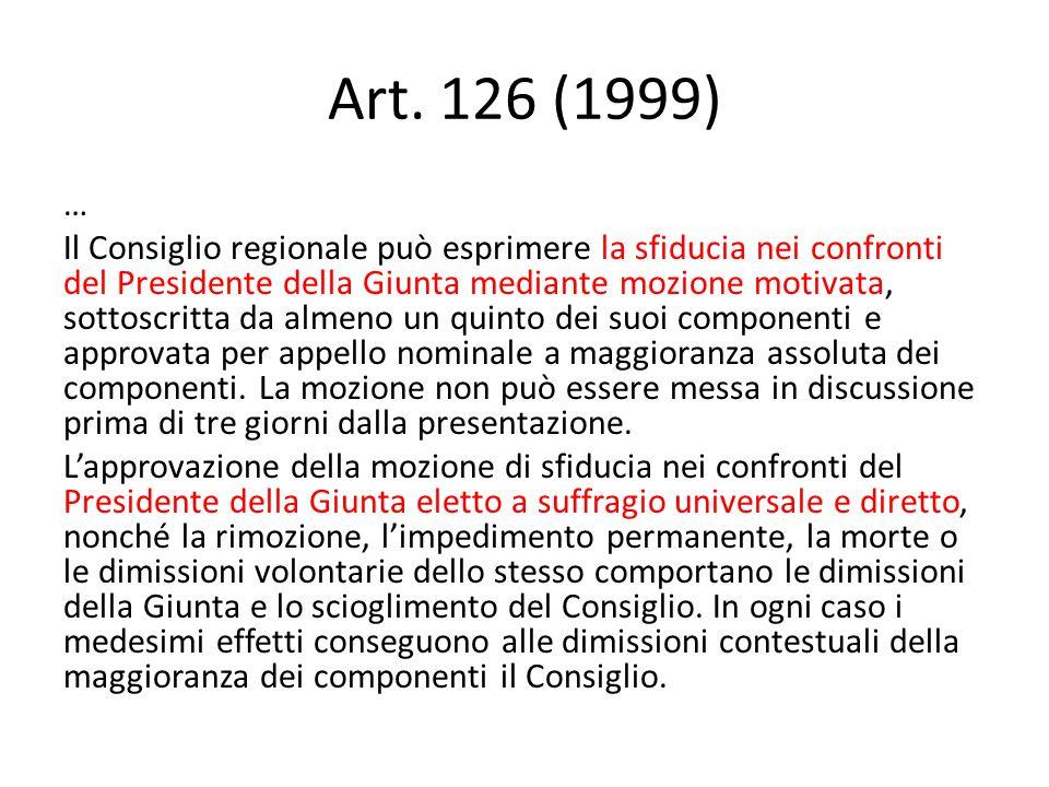 Art. 126 (1999) … Il Consiglio regionale può esprimere la sfiducia nei confronti del Presidente della Giunta mediante mozione motivata, sottoscritta d