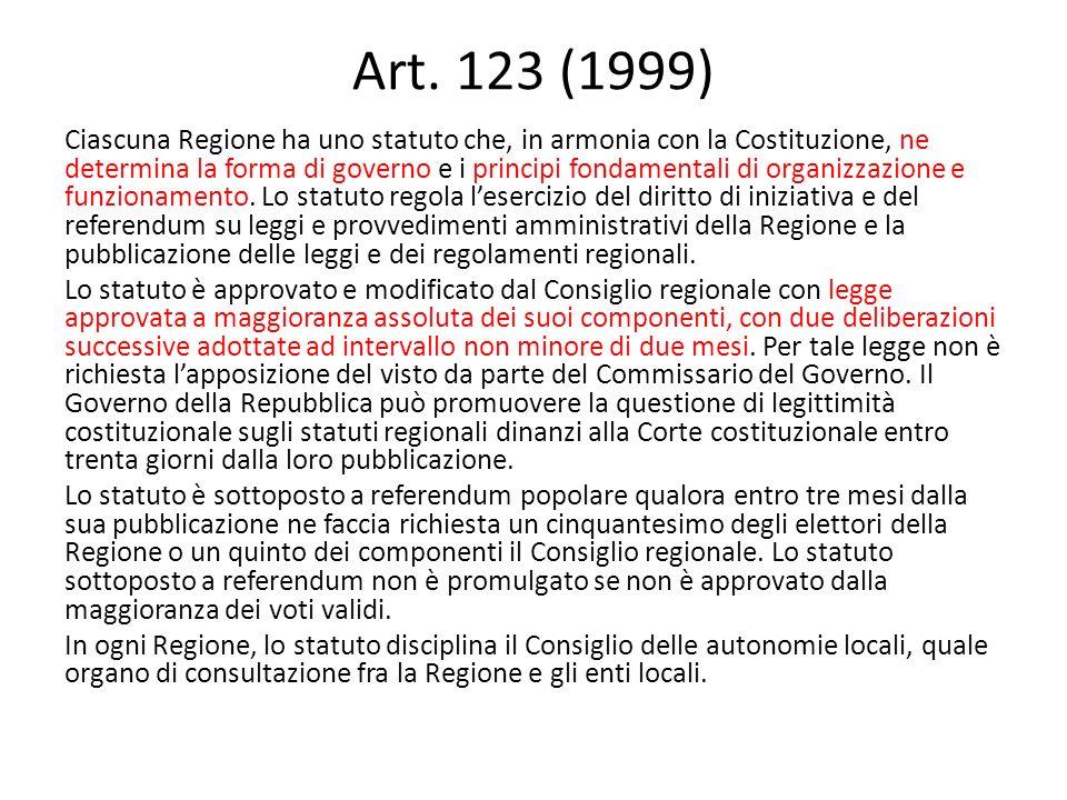 Art. 123 (1999) Ciascuna Regione ha uno statuto che, in armonia con la Costituzione, ne determina la forma di governo e i principi fondamentali di org