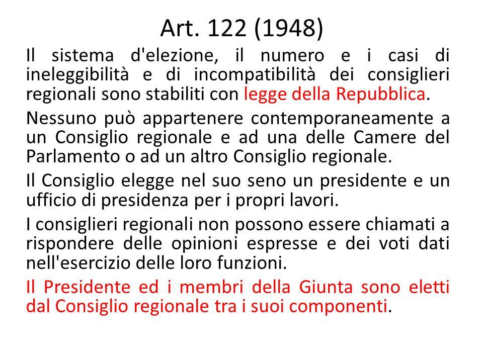 Art. 122 (1948) Il sistema d'elezione, il numero e i casi di ineleggibilità e di incompatibilità dei consiglieri regionali sono stabiliti con legge de