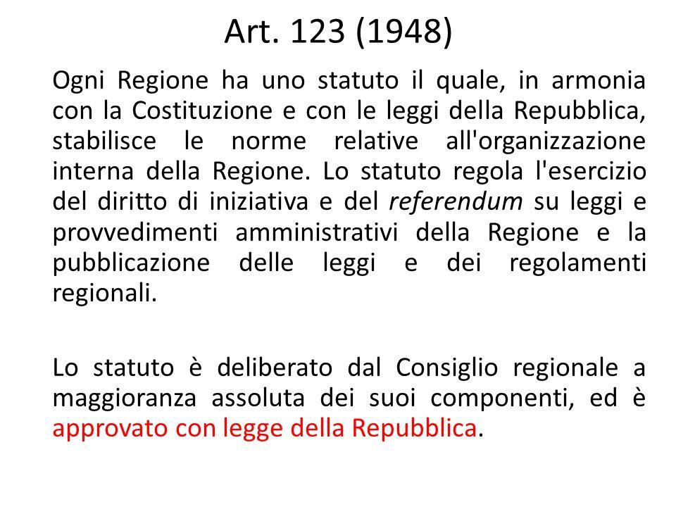 Art. 123 (1948) Ogni Regione ha uno statuto il quale, in armonia con la Costituzione e con le leggi della Repubblica, stabilisce le norme relative all