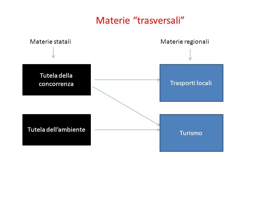 Materie trasversali Trasporti locali Materie regionali Turismo Materie statali Tutela della concorrenza Tutela dellambiente