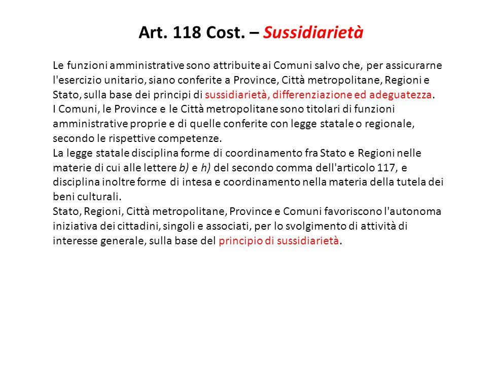 Art. 118 Cost. – Sussidiarietà Le funzioni amministrative sono attribuite ai Comuni salvo che, per assicurarne l'esercizio unitario, siano conferite a