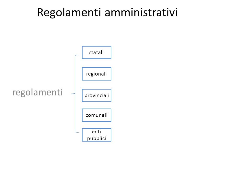 Regolamenti amministrativi Regolamenti Amministrativi* statali regionali comunali provinciali di altre autorità (per es., delle Autorità garanti - cap.