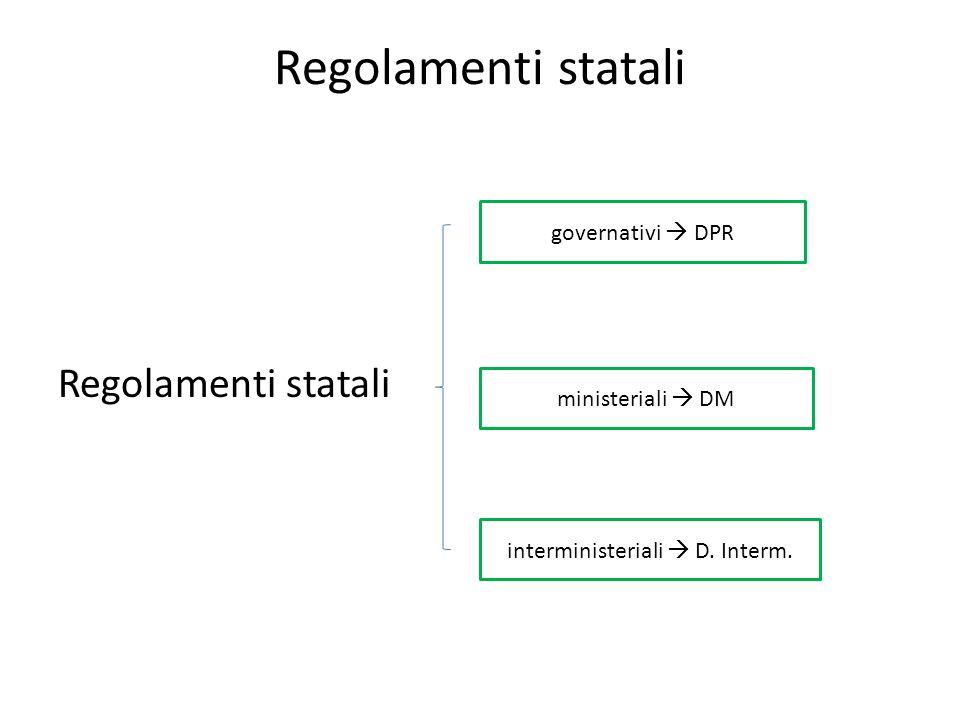 Regolamenti statali governativi DPR interministeriali D. Interm. ministeriali DM