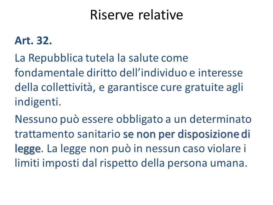 Riserve relative Art. 32. La Repubblica tutela la salute come fondamentale diritto dellindividuo e interesse della collettività, e garantisce cure gra
