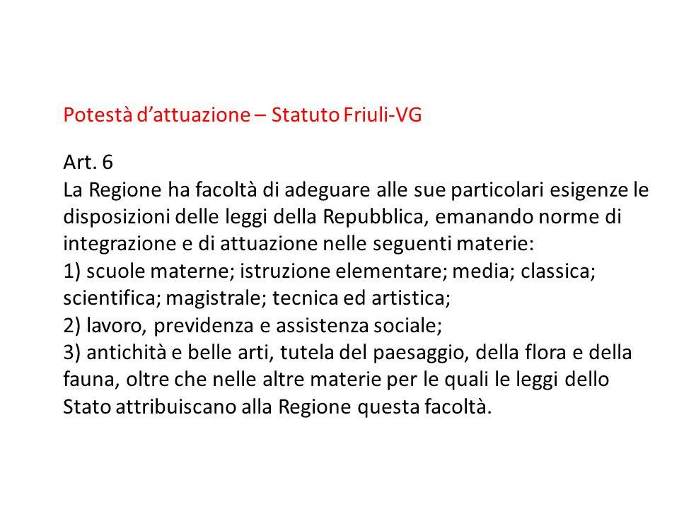 Potestà dattuazione – Statuto Friuli-VG Art. 6 La Regione ha facoltà di adeguare alle sue particolari esigenze le disposizioni delle leggi della Repub