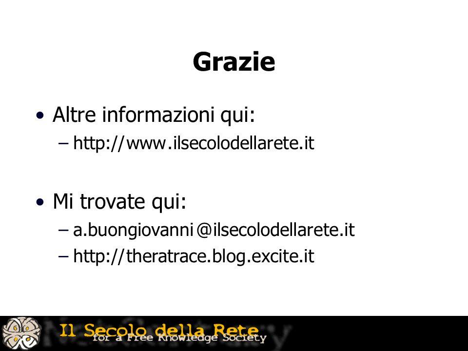Grazie Altre informazioni qui: –http:// www. ilsecolodellarete.it Mi trovate qui: –a.buongiovanni @ ilsecolodellarete.it –http:// theratrace.blog.exci