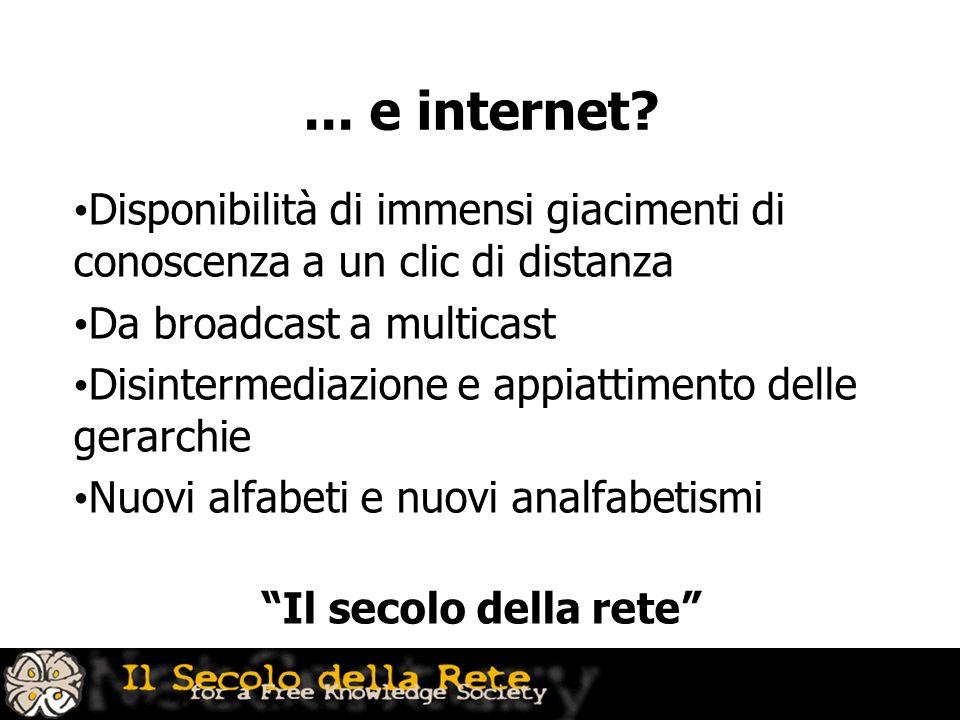 ... e internet? Disponibilità di immensi giacimenti di conoscenza a un clic di distanza Da broadcast a multicast Disintermediazione e appiattimento de