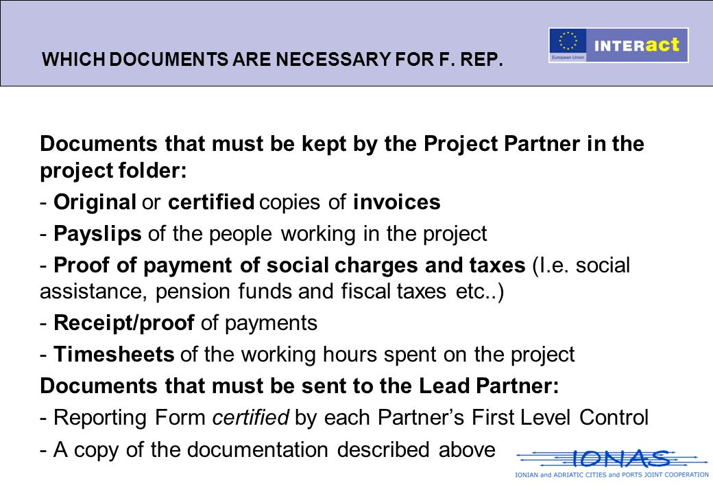 WHICH DOCUMENTS ARE NECESSARY FOR F. REP.