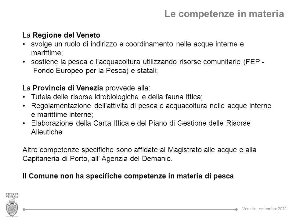 La Regione del Veneto svolge un ruolo di indirizzo e coordinamento nelle acque interne e marittime; sostiene la pesca e l'acquacoltura utilizzando ris