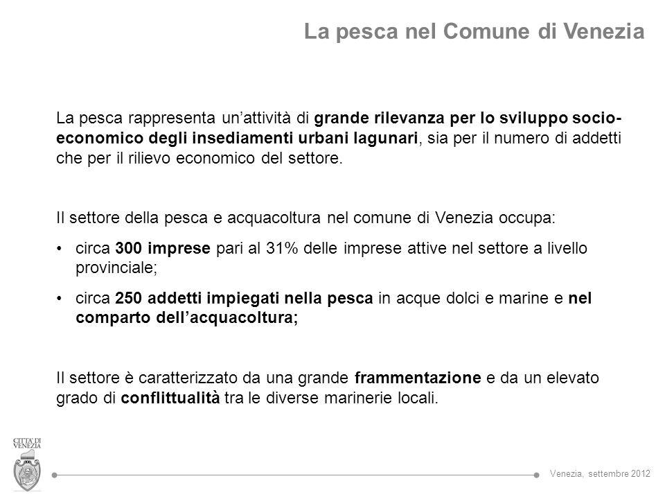 La pesca nel Comune di Venezia Numero impreseAddetti Pesca256137 Acquacoltura2995 TOTALE285232 (Elaborazione AGRITECO su dati CCIAA di Venezia, 2011) Venezia, settembre 2012