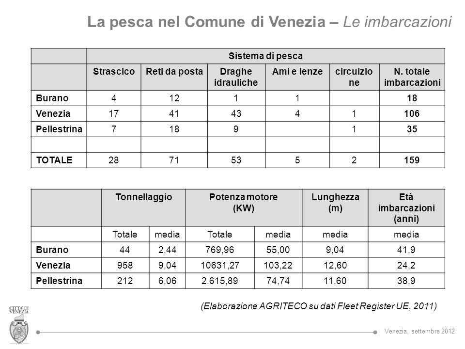 La pesca nel Comune di Venezia – Le imbarcazioni Sistema di pesca StrascicoReti da postaDraghe idrauliche Ami e lenzecircuizio ne N. totale imbarcazio
