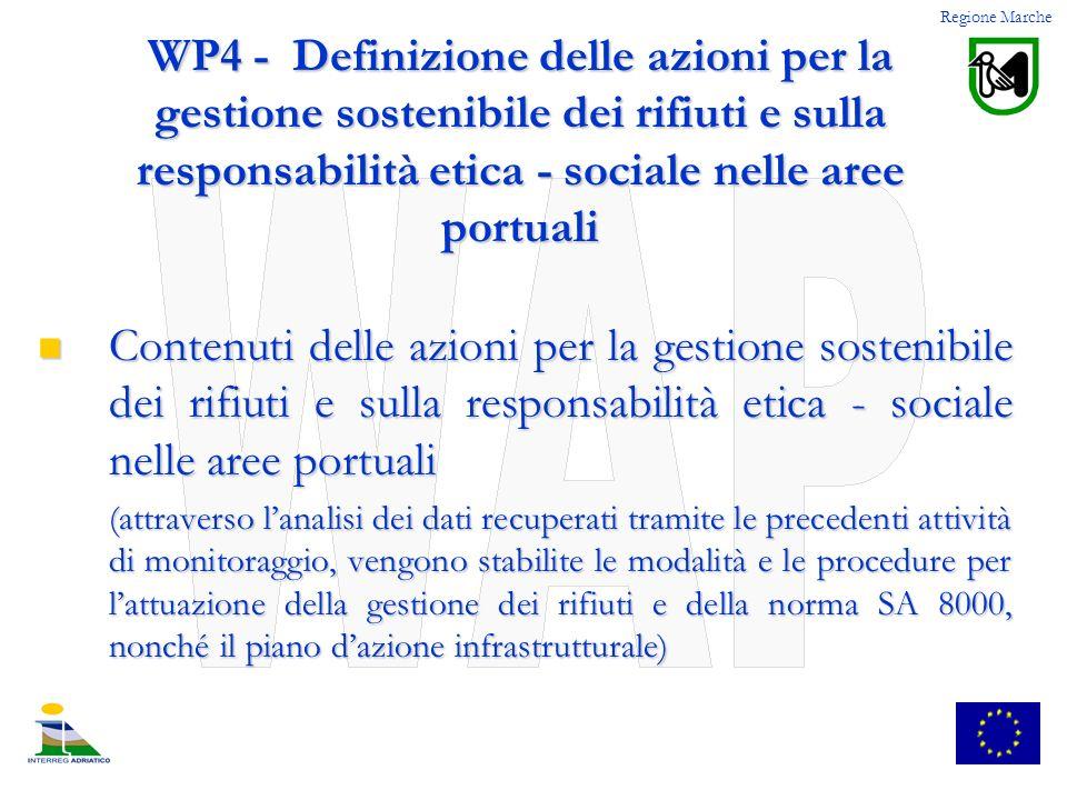WP4 - Definizione delle azioni per la gestione sostenibile dei rifiuti e sulla responsabilità etica - sociale nelle aree portuali Contenuti delle azio