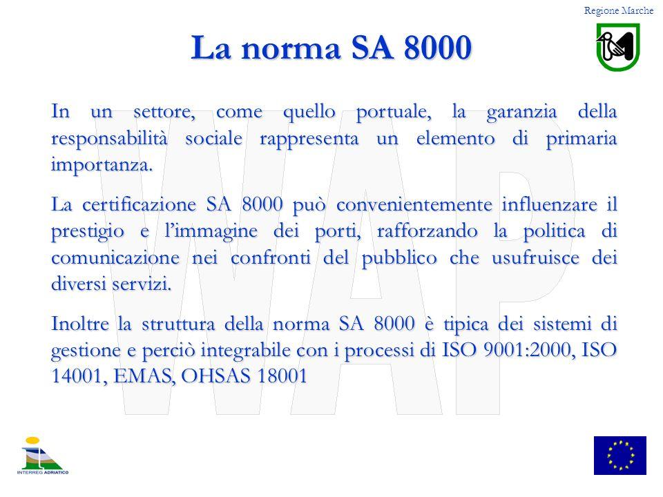 Regione Marche La norma SA 8000 In un settore, come quello portuale, la garanzia della responsabilità sociale rappresenta un elemento di primaria impo