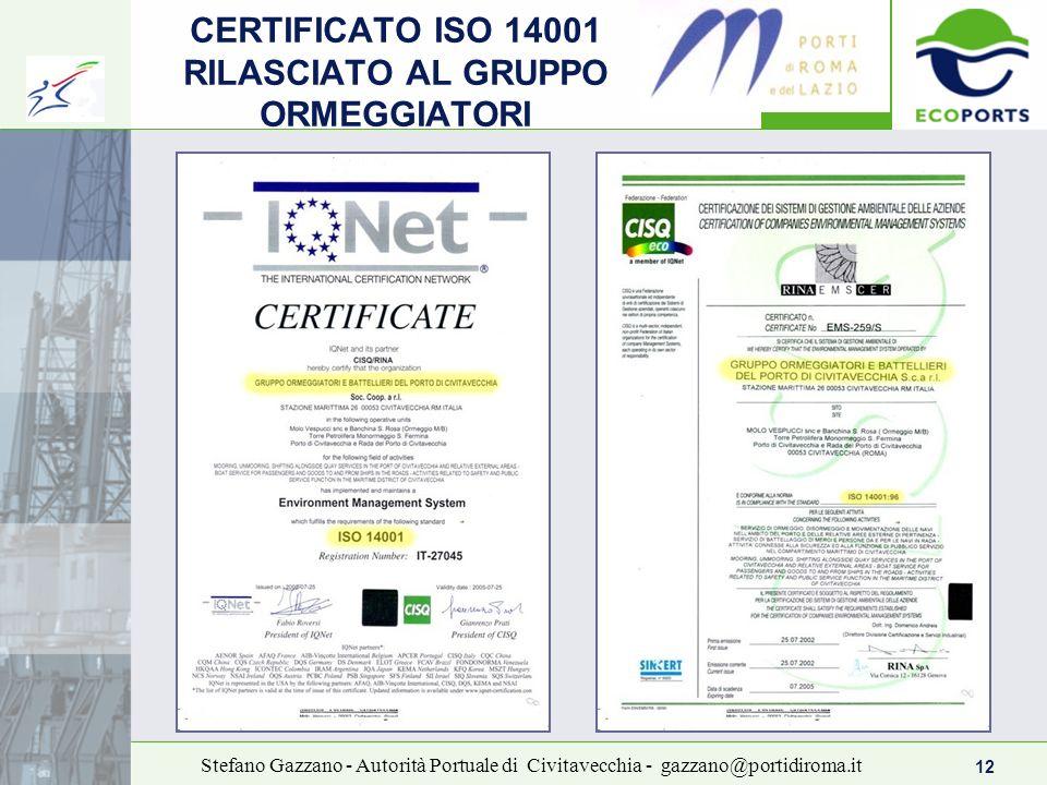 12 Stefano Gazzano - Autorità Portuale di Civitavecchia - gazzano@portidiroma.it CERTIFICATO ISO 14001 RILASCIATO AL GRUPPO ORMEGGIATORI