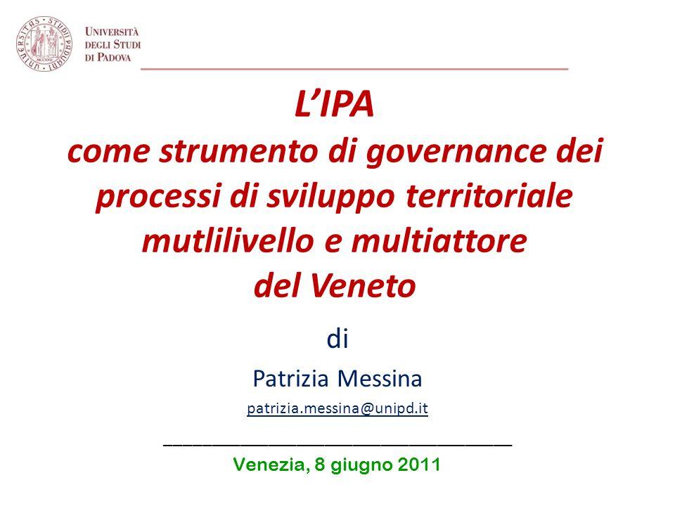 Governance europea multilivello (2) Innovazione delle politiche dellUE 2014-2020 Oggetto della prossima programmazione dei fondi strutturali saranno le regioni intese non più in senso amministrativo, ma in senso funzionale sulla base di progetti strategici di sviluppo di area vasta (place based).