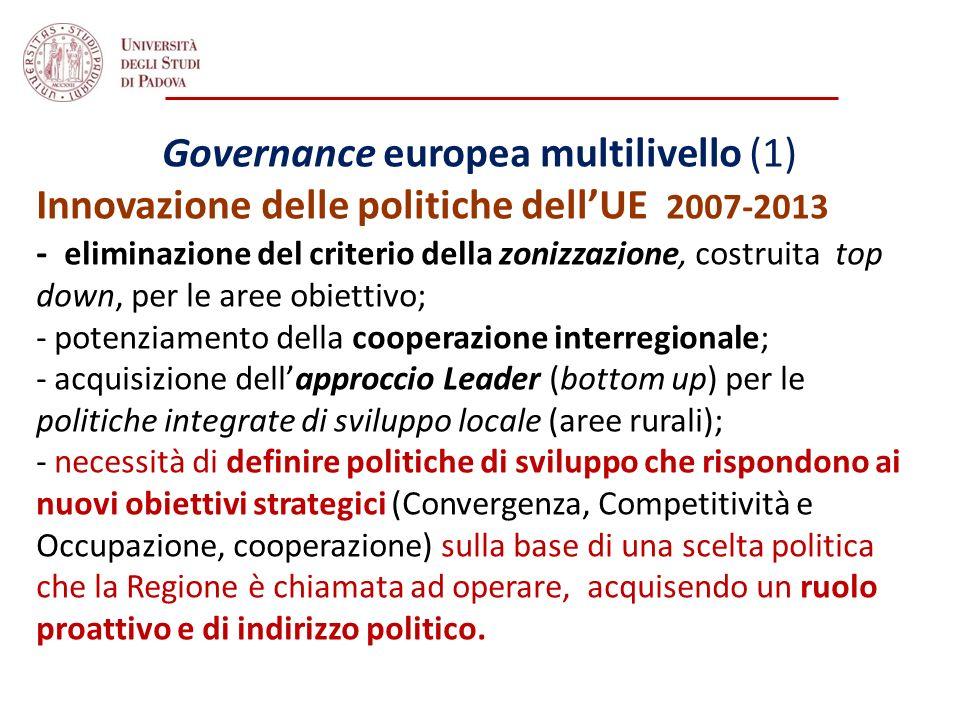 Governance europea multilivello (1) Innovazione delle politiche dellUE 2007-2013 - eliminazione del criterio della zonizzazione, costruita top down, p