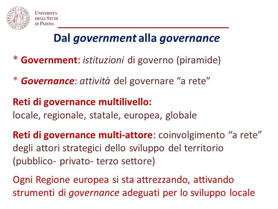 Dal government alla governance * Government : istituzioni di governo (piramide) * Governance: attività del governare a rete Reti di governance multili