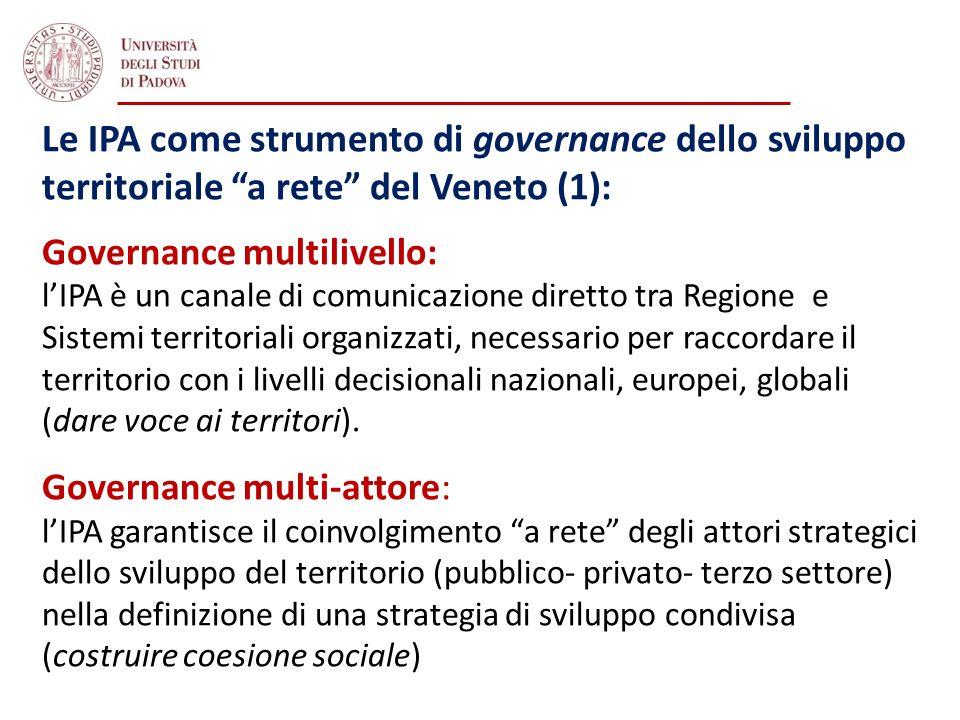 Le IPA come strumento di governance dello sviluppo territoriale a rete del Veneto (1): Governance multilivello: lIPA è un canale di comunicazione dire