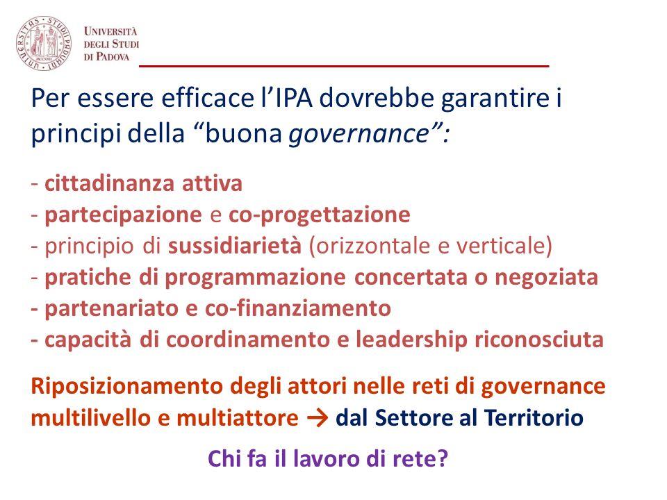 Per essere efficace lIPA dovrebbe garantire i principi della buona governance: - cittadinanza attiva - partecipazione e co-progettazione - principio d
