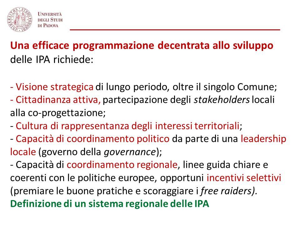 Una efficace programmazione decentrata allo sviluppo delle IPA richiede: - Visione strategica di lungo periodo, oltre il singolo Comune; - Cittadinanz