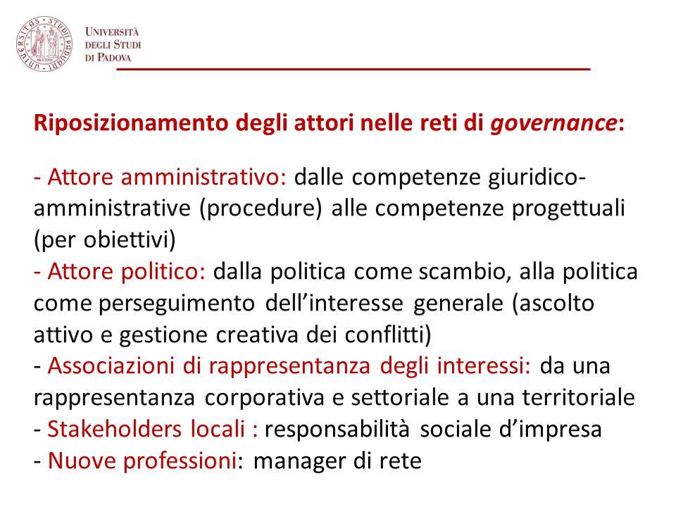 Riposizionamento degli attori nelle reti di governance: - Attore amministrativo: dalle competenze giuridico- amministrative (procedure) alle competenz
