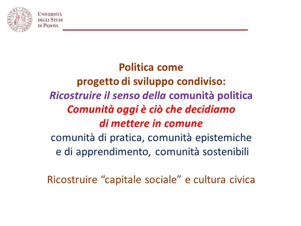 Politica come progetto di sviluppo condiviso: Ricostruire il senso della comunità politica Comunità oggi è ciò che decidiamo di mettere in comune comu