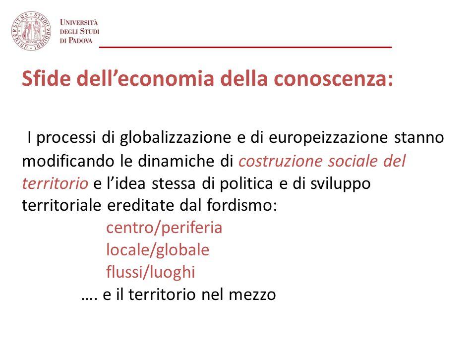 Sfide delleconomia della conoscenza: I processi di globalizzazione e di europeizzazione stanno modificando le dinamiche di costruzione sociale del ter