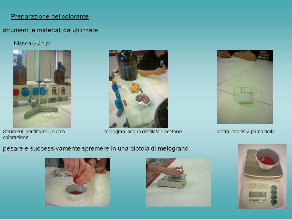 Preparazione del colorante strumenti e materiali da utilizzare - bilancia (+ 0,1 g) Strumenti per filtrare il succo melograni acqua distillata e acetone vetrini con tiO2 prima della colorazione pesare e successivamente spremere in una ciotola di melograno