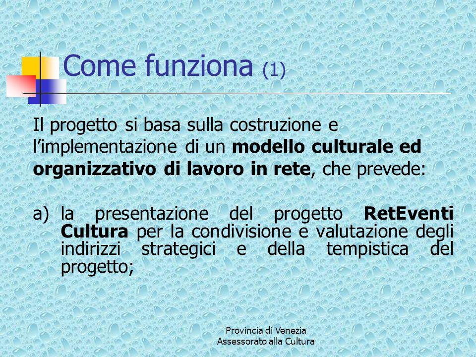 Provincia di Venezia Assessorato alla Cultura Come funziona (1) Il progetto si basa sulla costruzione e limplementazione di un modello culturale ed or