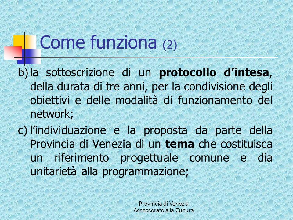 Provincia di Venezia Assessorato alla Cultura Come funziona (2) b) la sottoscrizione di un protocollo dintesa, della durata di tre anni, per la condiv
