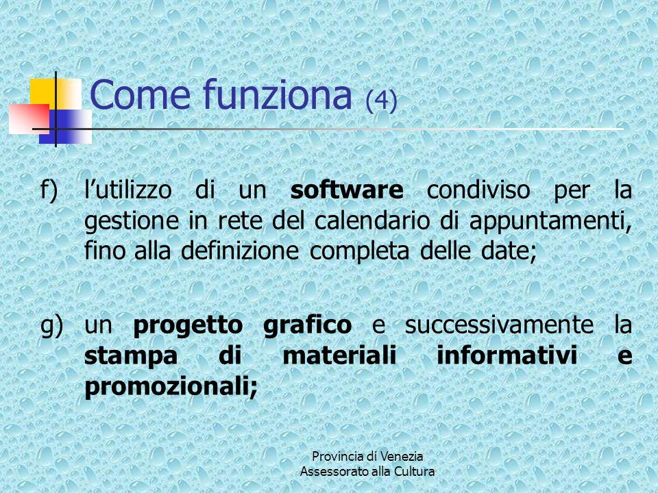 Provincia di Venezia Assessorato alla Cultura Come funziona (4) f)lutilizzo di un software condiviso per la gestione in rete del calendario di appunta