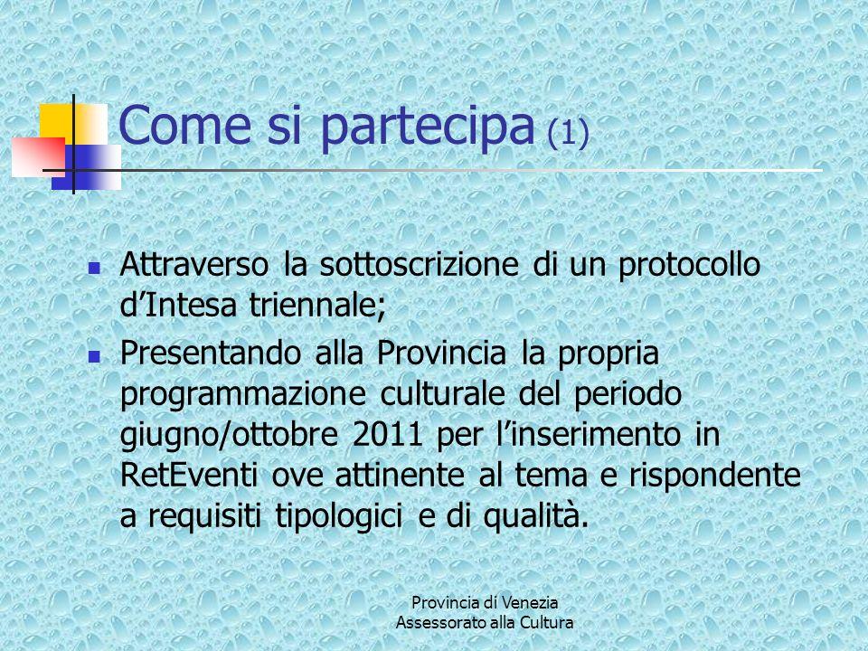 Provincia di Venezia Assessorato alla Cultura Come si partecipa (1) Attraverso la sottoscrizione di un protocollo dIntesa triennale; Presentando alla