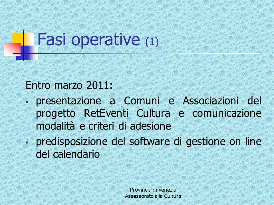 Provincia di Venezia Assessorato alla Cultura Fasi operative (1) Entro marzo 2011: presentazione a Comuni e Associazioni del progetto RetEventi Cultur