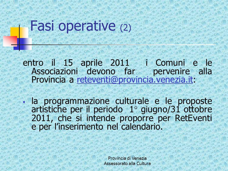Provincia di Venezia Assessorato alla Cultura Fasi operative (2) entro il 15 aprile 2011 i Comuni e le Associazioni devono far pervenire alla Provinci